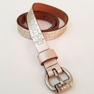 Fossil Leather Silver Metallic Belt Punch Pattern